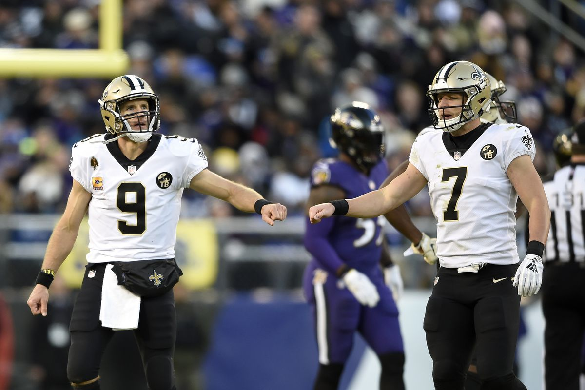 Taysom Hill and Drew Brees